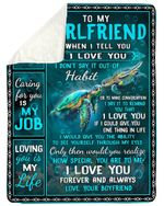 Loving You Is My Life Sea Turtle Gift For Darling Sherpa Blanket