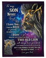 Dad Gift For Son Lion And Storm I Love You So Much Fleece Blanket