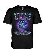 Gift For Son In Law Lion Black Background You Are Special Guys V-Neck