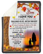 Autumn Leaves Mom Gift For Son Follow Your Dreams Fleece Blanket Sherpa Blanket