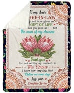 Protea You Gave Me The Man Of My Dreams Fleece Blanket Gift For Daughter In Law Sherpa Blanket