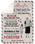 No Matter How Far You Travel Fleece Blanket Grandma Gift For Granddaughter Sherpa Blanket