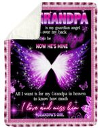 Gift For Angel Grandpa Magic Butterfly My Grandpa Is My Guardian Angel Sherpa Blanket