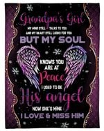 Gift For Angel Grandpa Light Purple Wing My Mind Still Talks To You Fleece Blanket