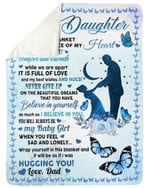 Never Give Up Waning Moon Fleece Blanket Papa Gift For Daughter Sherpa Blanket