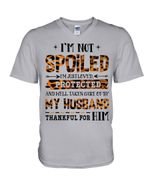 I'm Just Loved Protected By My Husband Camo Gift For Family Guys V-Neck