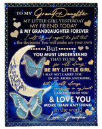 Moon Fleece Blanket Grandma Gift For Granddaughter My Little Girl Yesterday Fleece Blanket