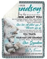 I Think About You Wolf Fleece Blanket Nan And Grandad Gift For Grandson Sherpa Blanket