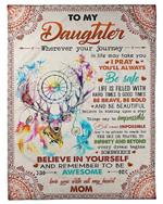 Mandala Mom Gift For Daughter Remember To Be Awesome Fleece Blanket Fleece Blanket
