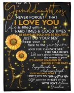 Enjoy The Ride Fireflies Sunflower Fleece Blanket Grandma Gift For Granddaughter Fleece Blanket