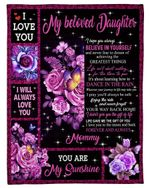 The Gift Of You Purple Rose Fleece Blanket Gift For Daughter Fleece Blanket