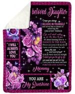 The Gift Of You Purple Rose Fleece Blanket Gift For Daughter Sherpa Blanket