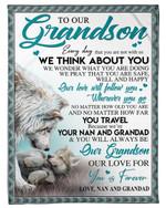 I Think About You Wolf Fleece Blanket Nan And Grandad Gift For Grandson Fleece Blanket