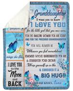 You Are My Sunshine Blue Butterflies Ouma Gift For Granddaughter Fleece Blanket Sherpa Blanket