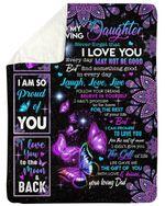 Purple Mandala I Am Proud Of You Dad Gift For Daughter Fleece Blanket Sherpa Blanket