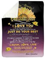 Sunflower Purple Just Do Your Best Gift For Granddaughter Fleece Blanket Sherpa Blanket