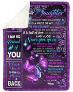 Purple Mandala Gift For Daughter I Am So Proud Of You Fleece Blanket Sherpa Blanket
