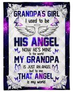 That Angel Is My World Galaxy Gift For Grandpa Fleece Blanket