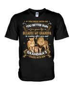 Grandparent Gift For Grandkid Lion Family If You Mess With Me Guys V-Neck