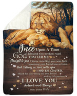 Lion Falling In Love With You Gift For Lover Fleece Blanket Sherpa Blanket