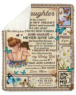 You Are My Sunshine Mom Gift For Daughter Butterflies Fleece Blanket Sherpa Blanket