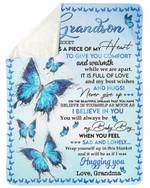 Fleece Blanket Grandma Gift For Grandson Blue Butterflies Never Give Up Sherpa Blanket