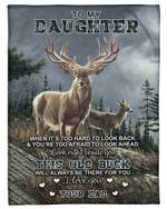 Look Right Beside You Deer Cloudy Sky Fleece Blanket Dad Gift For Daughter Fleece Blanket