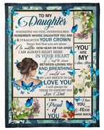 Whenever You Feel Overwhelmed Blue Butterflies Fleece Blanket Gift For Daughter Fleece Blanket