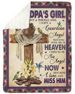 Wooden Cross Hummingbird I Have A Guardian Angel Gift For Grandpa Sherpa Blanket