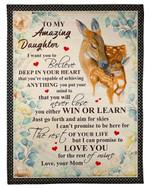 Capable Of Achieving Anything Deer Fleece Blanket Mom Gift For Daughter Fleece Blanket