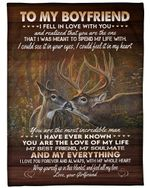 Gift For Boyfriend Deer I Love Yo With My Whole Heart Fleece Blanket Sherpa Blanket