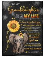 The Day You Came Into My Life Elephant Sunflower Fleece Blanket Meemaw Gift For Granddaughter Fleece Blanket