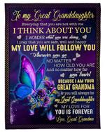 My Love Will Follow You Grandma Gift For Granddaughter Fleece Blanket Fleece Blanket