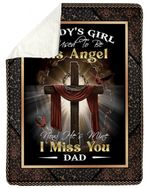 Cross Cardinal He's My Angel Miss You Gift For Angel Daddy Sherpa Blanket