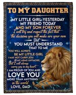 My Little Girl Yesterday Friend Today Lion Dad Gift For Daughter Fleece Blanket Sherpa Blanket