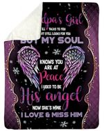 Gift For Angel Grandpa Light Purple Wing My Mind Still Talks To You Sherpa Blanket