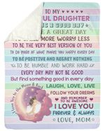 Colorful Stripes Smile More Worry Less Fleece Blanket Gift For Daughter Sherpa Blanket