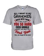 Gift For Grandpa All I Want Is My Grandkids Guys V-Neck