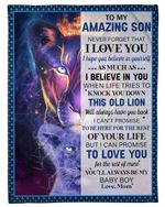 Never Forget That I Love You Lion Queen Mom Gift For Son Fleece Blanket
