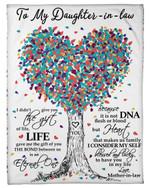Heart Tree The Bond Between Us Fleece Blanket Gift For Daughter In Law Fleece Blanket