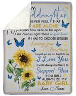 Always Be There To Support You Sunflower Fleece Blanket Nonni Gift For Granddaughter Sherpa Blanket