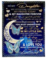 Moon Always Proud Of You Blue Butterflies Fleece Blanket Papa Gift For Daughter Fleece Blanket
