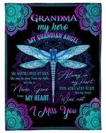 Dragonfly Gift For Angel Grandpa My Guardian Angel She Watches Over Fleece Blanket
