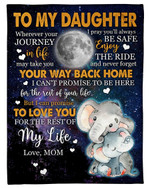 Wherever Your Journey In Life Full Moon Elephant Fleece Blanket Mama Gift For Daughter Fleece Blanket