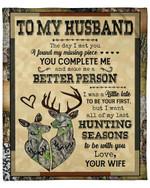 Wife Gift For Husband You Complete Me Deer Fleece Blanket Sherpa Blanket