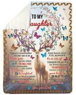 Dad Gift For Daughter How Much I Love You Butterflies Horn Deer Fleece Blanket Sherpa Blanket