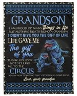 T Rex Grandpa Gift For Grandson Thank You For Not Selling Me To The Circus Fleece Blanket