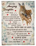 Believe Deep In Your Heart Deer Mom Fleece Blanket Gift For Daughter Fleece Blanket
