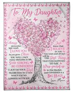To My Daughter Special Blanket For Daughter Pink Butterfly Fleece Blanket