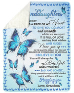 Fleece Blanket Grandma Gift For Granddaughter Blue Butterflies Never Give Up Sherpa Blanket